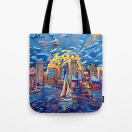 abstract city skyline-baltimore Tote Bag