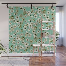 Small flowers on green wall Wall Mural