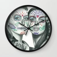 lindsay lohan Wall Clocks featuring Meryl Streep and Lindsay Lohan  by Jimmy Lee