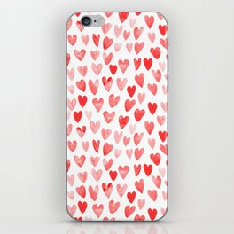 Watercolor heart pattern perfect gift to say i love you on valentines day iPhone Skin