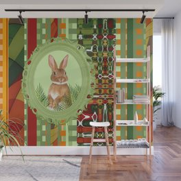 Bunny in green frame with geometric background stripes Wall Mural