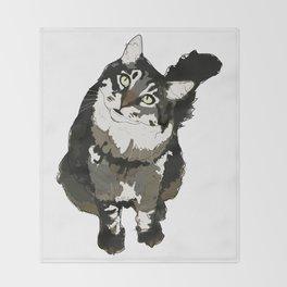 Cat Yellow Eyes Throw Blanket