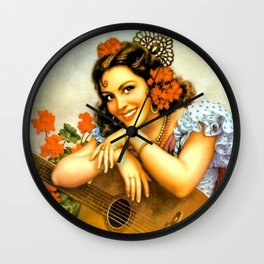 Mexican Calendar Girl with Guitar by Jesus Helguera Wall Clock