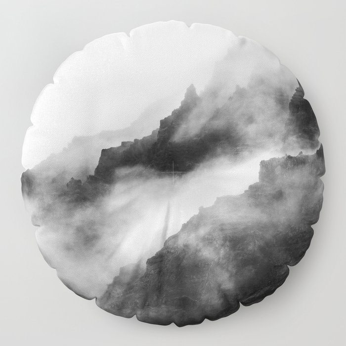 Foggy Mountains Black and White Floor Pillow