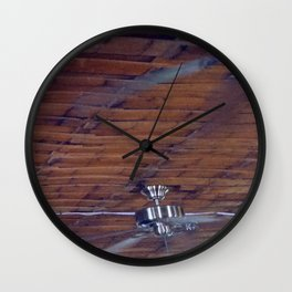 Wood Ceiling, Chrome Fans Wall Clock