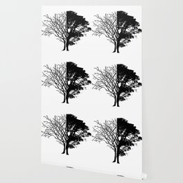 Half Tree Leaves Half No Leaves Art Wallpaper