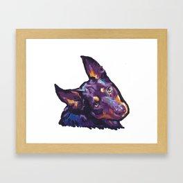 Fun Australian Kelpie Dog Portrait bright colorful Pop Art by LEA Framed Art Print