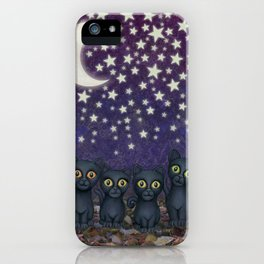 black cats, stars, & moon iPhone Case
