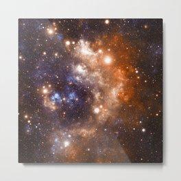 Galaxy Nebula Blue Copper Metal Print