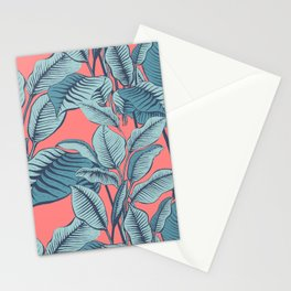 Pink Exotic Tropical Banana Palm Leaf Print Stationery Cards