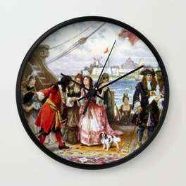 Jean Leon Gerome Ferris - Captain Kidd in New York Harbor Wall Clock