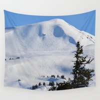 skiing Wall Tapestries featuring Back-Country Skiing  - III by Alaskan Momma Bear
