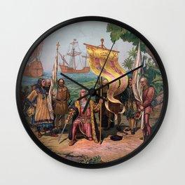 Columbus Landing in America Painting (1892) Wall Clock