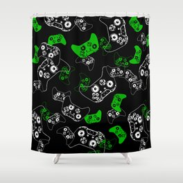 Video Game Black & Green Shower Curtain