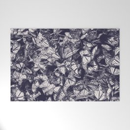 Indigo butterfly photograph duo tone blue and cream Welcome Mat