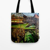 dinosaurs Tote Bags featuring DINOSAURS by shannon's art space