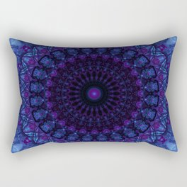 Mandala in deep blue tones Rectangular Pillow