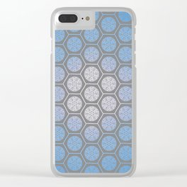 Hexagonal Dreams - Periwinkle/Turquoise gradient Clear iPhone Case