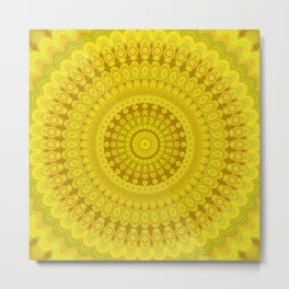 Sunflower Circle Mandala Metal Print