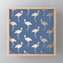 Gold Flamingo on Aegean Blue Framed Mini Art Print