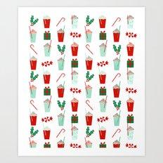 Minimal christmas peppermint latte christmas coffee cafe kitchen foodie pattern print mistletoe Art Print