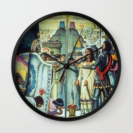 The Meeting of Monteczuma, Malinche, & Cortés 1521, Tenochtitlán by Diego Rivera Wall Clock
