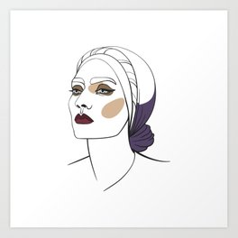 Woman in headscarf with smoky eyes. Abstract face. Fashion illustration Art Print