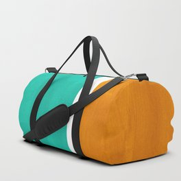 Marine Green Yellow Ochre Mid Century Modern Abstract Minimalist Rothko Color Field Squares Duffle Bag