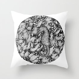 Seahorse in the Kelp Forest Throw Pillow