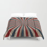patriotic Duvet Covers featuring Patriotic Wood Texture #3 by Juliana RW