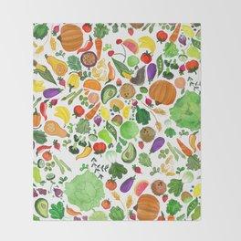 Fruit and Veg Pattern Throw Blanket