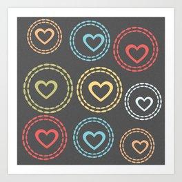 Cute Bright Hearts Pattern Art Print