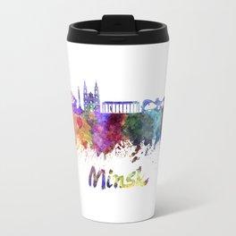 Minsk skyline in watercolor Travel Mug