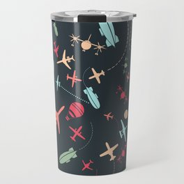 Black Airplane and Aviation Pattern Travel Mug