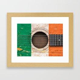 Old Vintage Acoustic Guitar with Irish Flag Framed Art Print