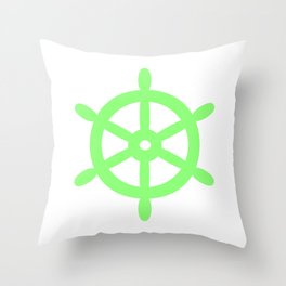 Ship Wheel (Light Green & White) Throw Pillow