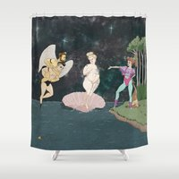 stevie nicks Shower Curtains featuring The Birth of Stevie by Melissa Coughlin