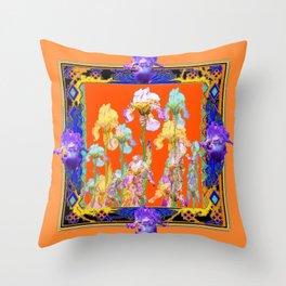 Ornate Cumin Color Purple Iris garden Design Throw Pillow