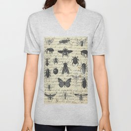 Insect Study on antique journal paper Unisex V-Neck