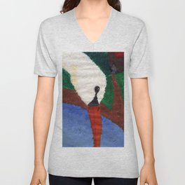 A Swan in the water - Acrylic Nature Drawing Unisex V-Neck