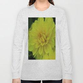 Bright Yellow Dahlia Abstract Long Sleeve T-shirt