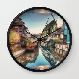Colmar the Little Venice painting, French village Lauch river scenery, France nature, travel art pos Wall Clock