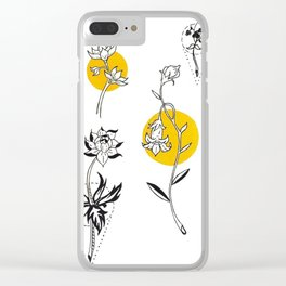 Wildflowers Circular Gold Ink Illustration Clear iPhone Case