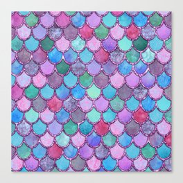 Colorful Pink Glitter Mermaid Scales Canvas Print