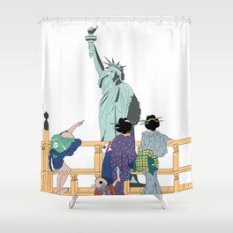 Hokusai People & Statue of Liberty Shower Curtain