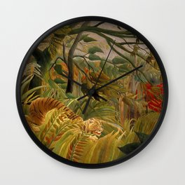 "Henri Rousseau ""Tiger in a Tropical Storm (Surprised!)"", 1891 Wall Clock"