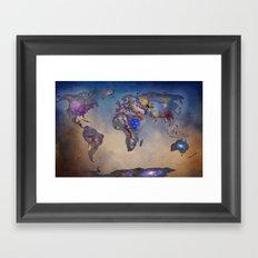 Stars world map. Blue. World map Framed Art Print