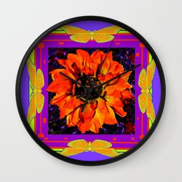 Orangey-Red Dahlia Butterly Lilac Pattern Wall Clock