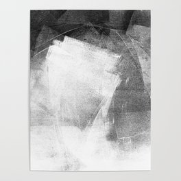 Black and White Ethereal Minimalist Abstract Painting Poster