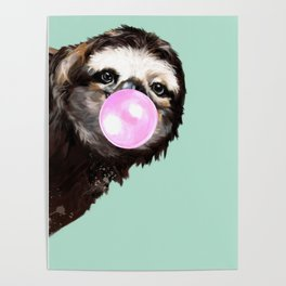 Bubble Gum Sneaky Sloth in Green Poster